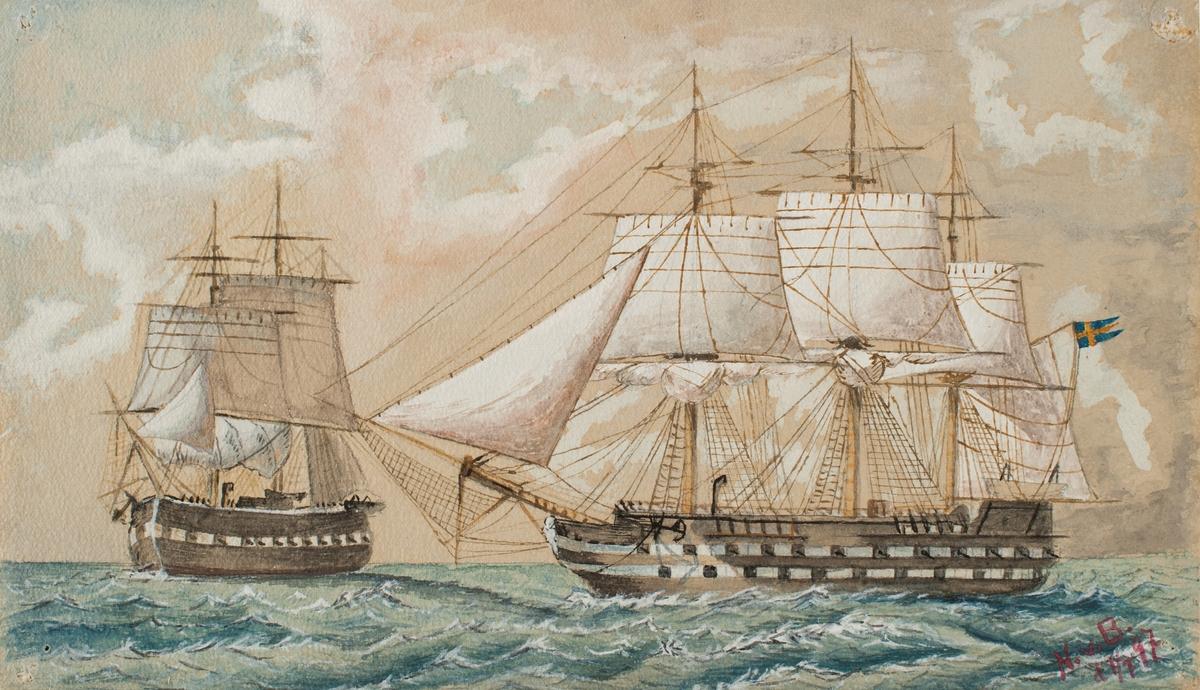 Linjeskeppet Stockholm och fregatt under segel.