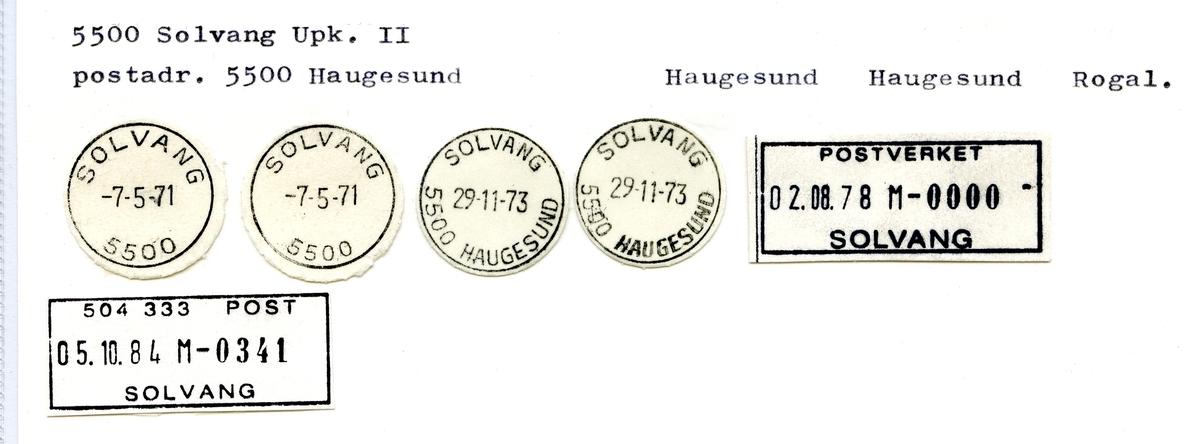 Stempelkatalog  Solvang, 5500 Haugesund, Haugesund kommune, Rogaland