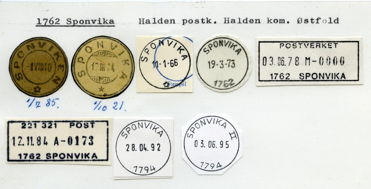 Stempelkatalog  1762 Sponvika, Halden kommune, Østfold