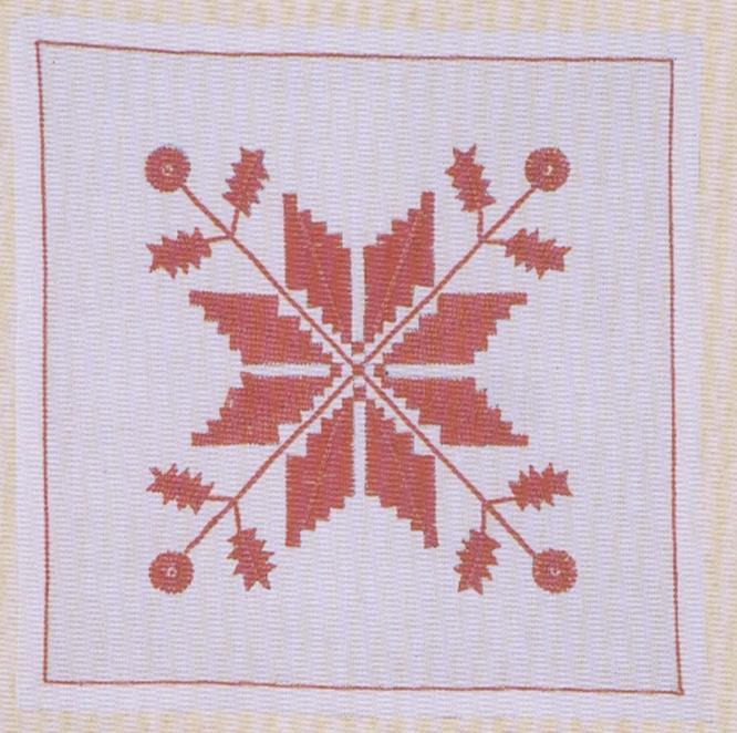 Tablett  sydd i Hallandssöm med rött bomullsgarn på blekt linneväv.