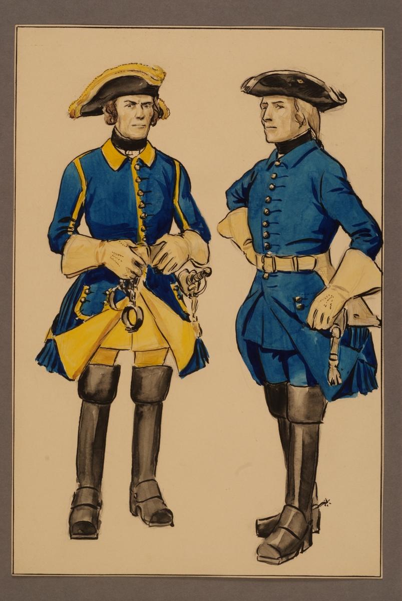 Plansch med uniform för profoss och sadelmakare vid Västgöta kavalleriregemente tidigt 1700-tal, ritad av Einar von Strokirch.
