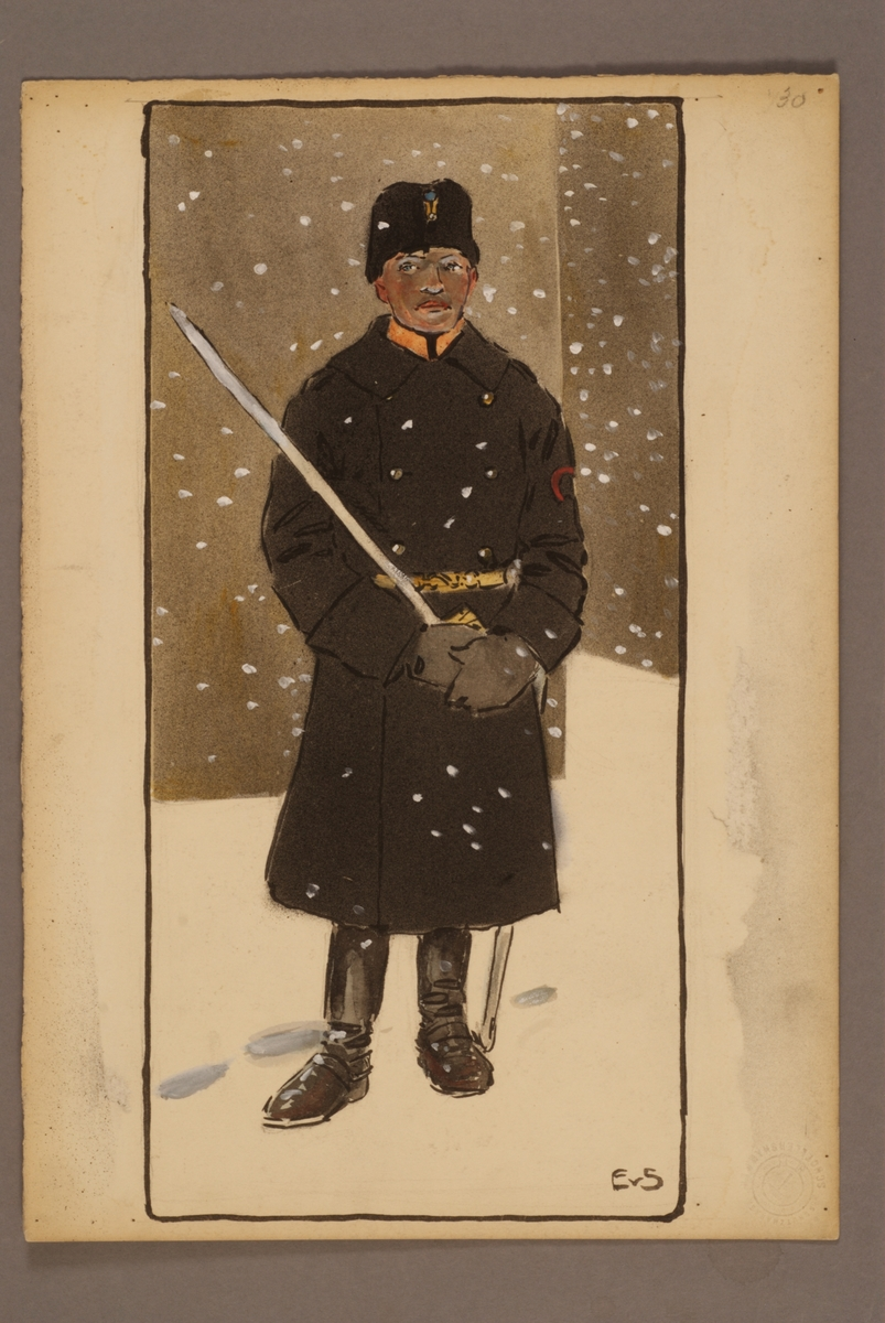 Plansch med uniform för Norrlands artilleriregemente, ritad av Einar von Strokirch.
