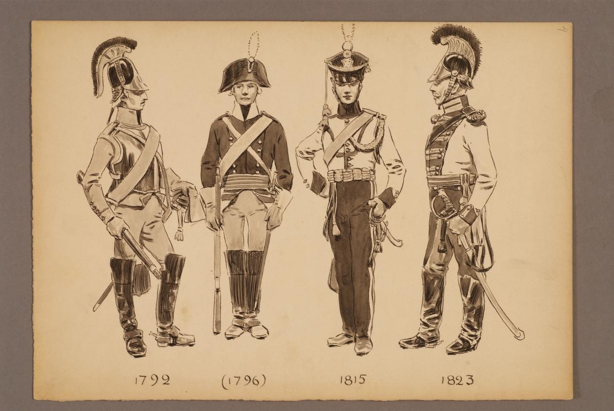 Plansch med uniform för Livregementets dragoner för åren 1792-1823, ritad av Einar von Strokirch.