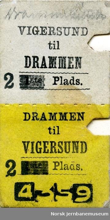 Tur/returbillett Drammen-Vigersund, 2 Plads (klasse overstemplet, etter klasseendringen i 1880), brukt