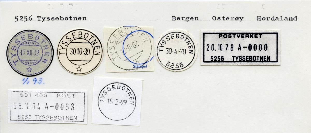 Stempelkatalog 5256 Tyssebotnen, Bergen, Osterøy, Hordaland