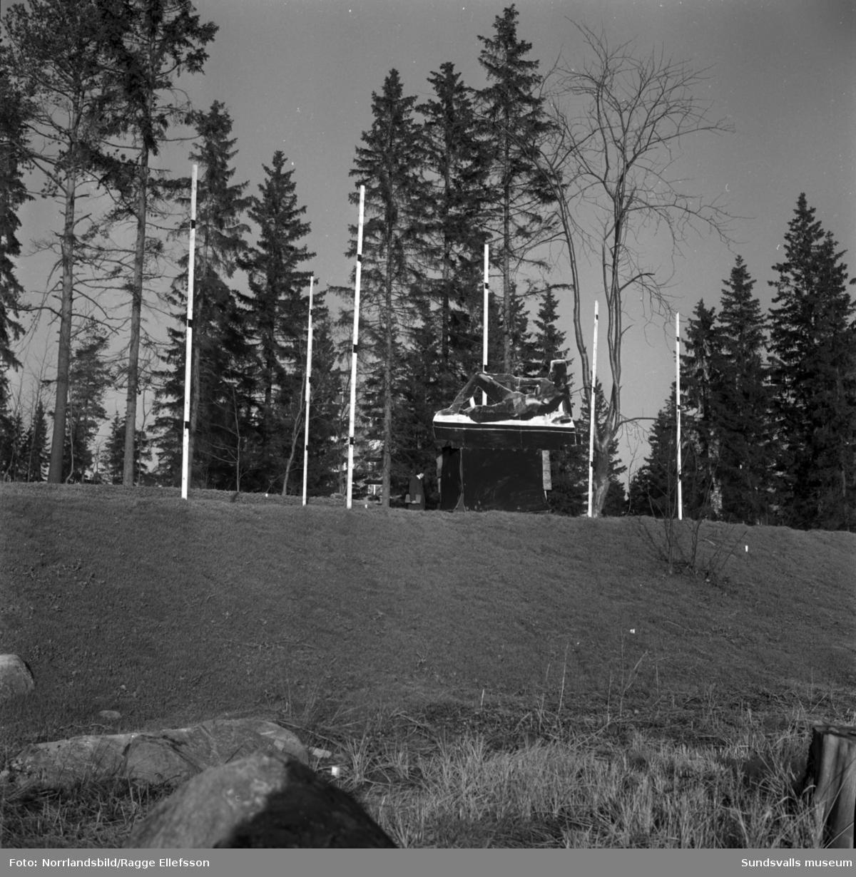 Bostadsområdet Norrliden är färdigbyggt och nu planeras offentlig utsmyckning i parken mellan husen. Byggmästare Anders Nisses donerade bronsskulpturen Mor och barn av konstnären Curt Thorsjö som kom på plats 1963.