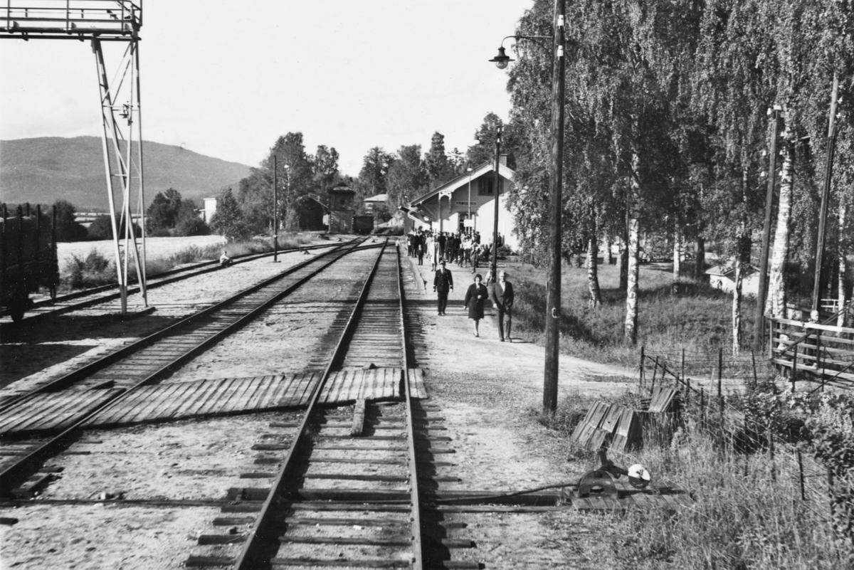 Oversiktsbilde fra Krøderen stasjon. Fotografert fra bakerste vogn i A/L Hølandsbanens veterantog.