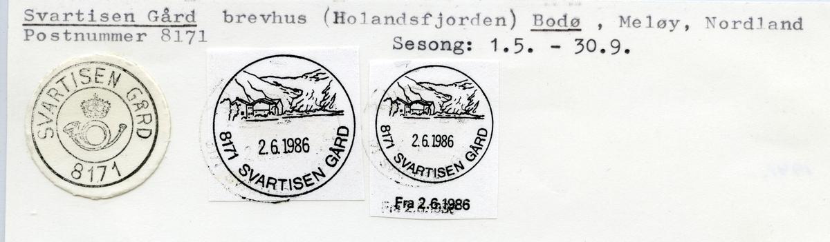 Stempelkatalog  8171 Svartisen gård, Meløy kommune, Nordland
