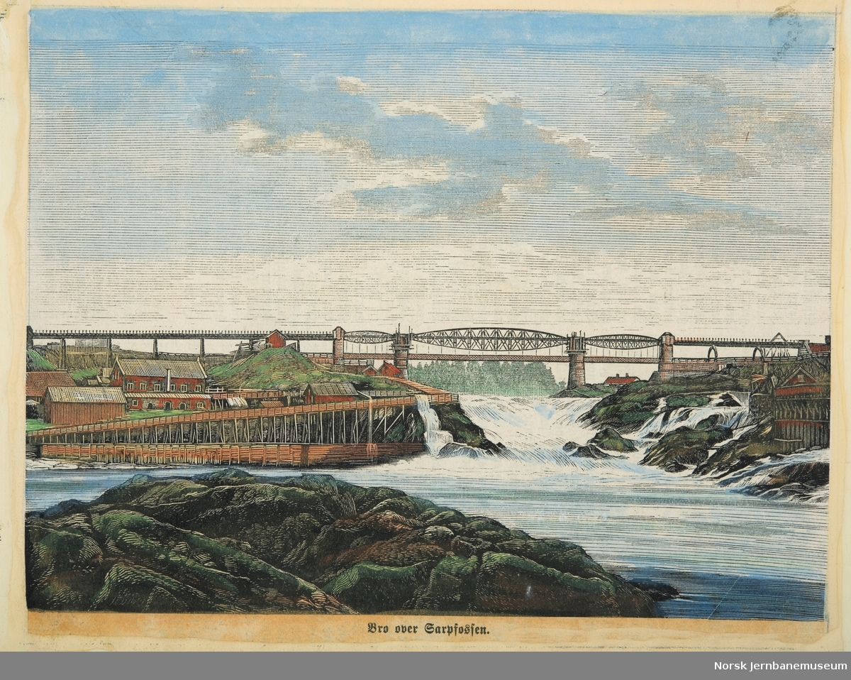 Kolorert tresnitt : Bro over Sarpsfossen
