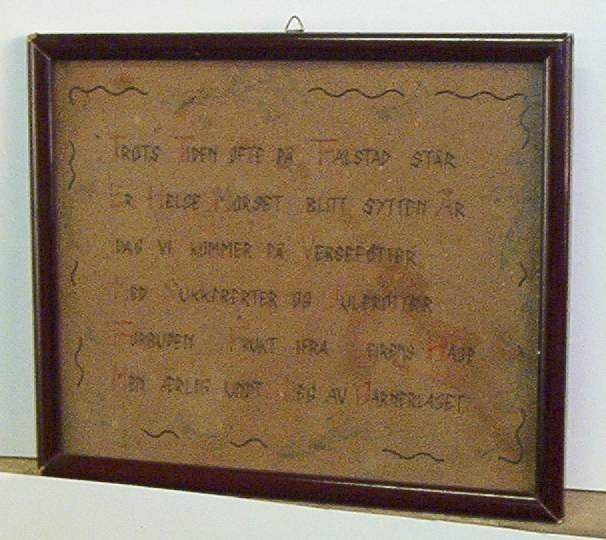 Innrammet dikt  Til Helge Morset 17 år