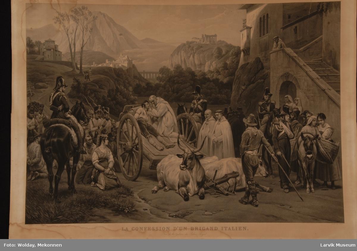 Soldater - tre til hest, fanger, en såret fange på kjerre med to liggende okser foran. De tar en hvil utenfor et munkekloster. I bakgrunnen skimtes en by/borg, en akvedukt og slott med søyler på en fjeltopp (akropolis).