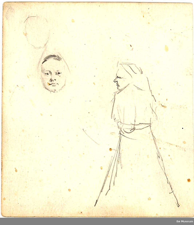 Side 1: Mann utan hovud, det ligg eit laust hoveud opp ned ved sidan av Side 2: Kvinne i stakk i profil og eit laust andlet