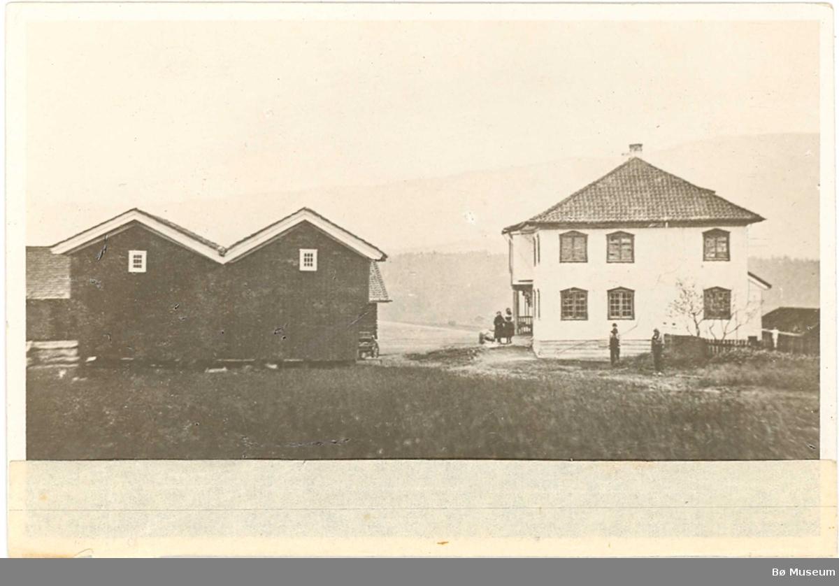 Foto av gml. hovudbygning og dobbelt-stabbur på Borgja i Bø