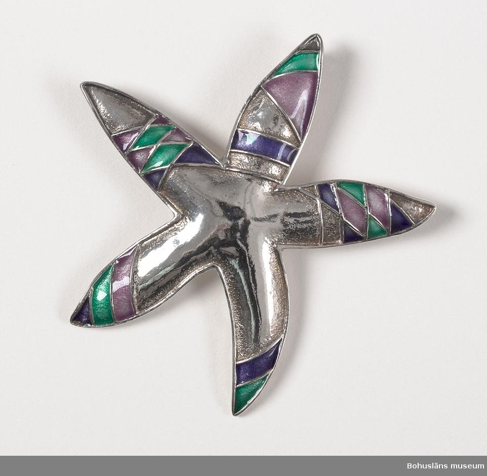 Brosch av silver och emalj i form av en femarmad, svagt välvd sjöstjärna. Dekor av emalj i mörkt och ljust violett och grönt inom konturstreck. På baksidan stängningsanordning med nål och ögla, smycket går också att använda som hänge.   Silverstämpel och tillverkarens signatur på baksidan: BHN, Göteborgs stadsstämpel, 925, X10, Birgitta.