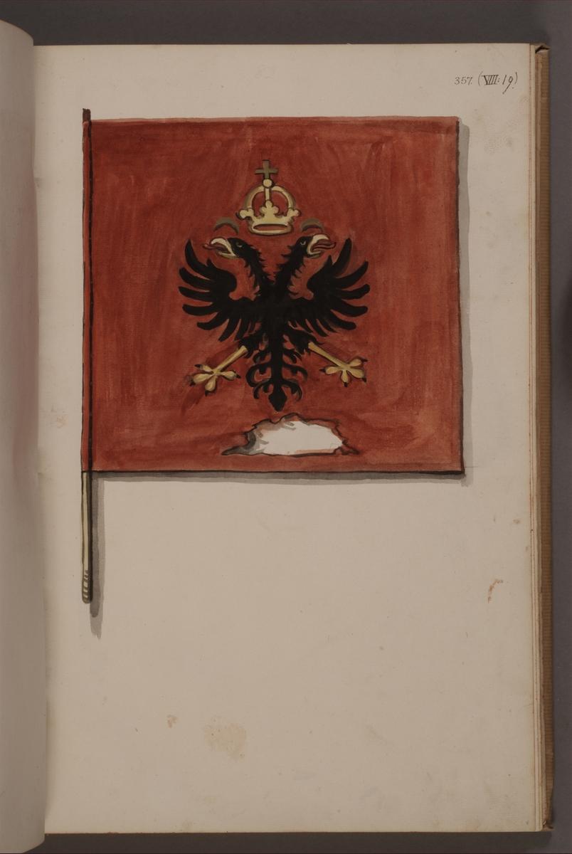 Avbildning i gouache föreställande fana tagen som trofé av svenska armén. Den avbildade fanan finns bevarad i Armémuseums samling, för mer information, se relaterade objekt.