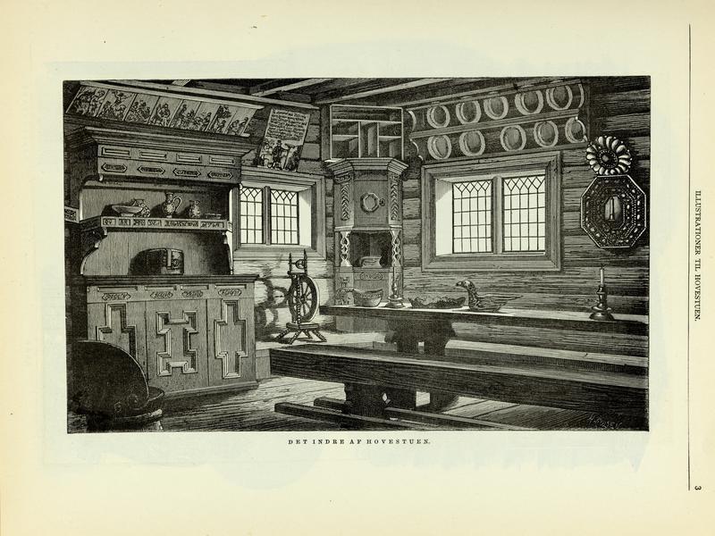 Xylografi av interiøret i stua fra Hove i «Bygninger fra Norges middelalder hvilke Hans Maj. Kong Oscar Den Anden har ladet flytte til Bygdø Kongsgaard»
