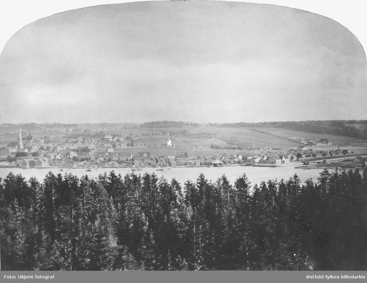 Oversiktsbilde fra Moss. Moss fotografert fra Jeløy 1865.