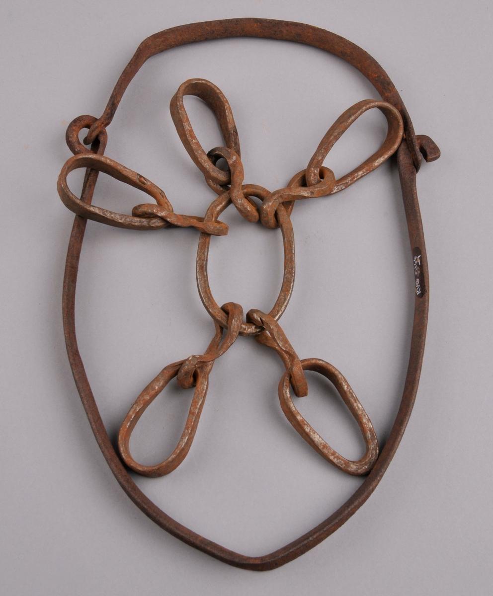 Truger som består av ein jarnring i midten. Rundt ringen er det tredd på fem par jarnringar. Desse kan så tres inn inni ein tilhøyrande større ring.