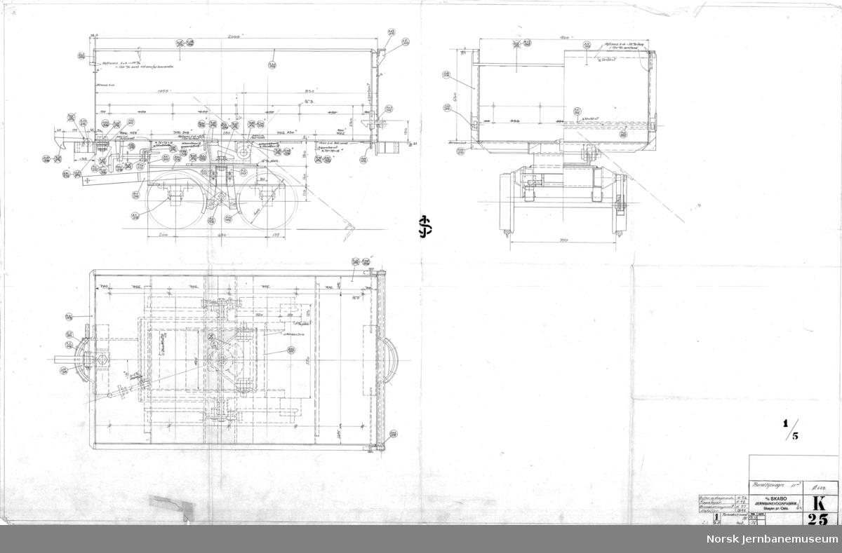 Rundtipvogn, 1,5 m3, 750 mm sporvidde  K025 Hovedtegning K026 Buffer- og draginnretning K027 Bremsearrangement K029 Tippelager  Vogner til Skabos kundenr Ø628, ukjent hvem