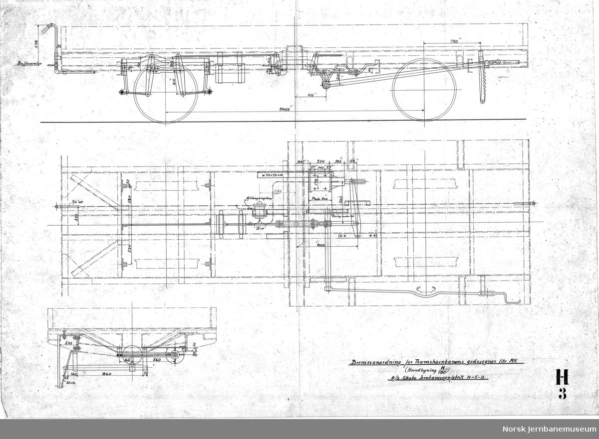 Bolstervogn for Orkedalsbanen, Bevægelige aksler, 11 tonns last  H180 Hovedtegning H003 Bremseanordning (tegnet 1913)