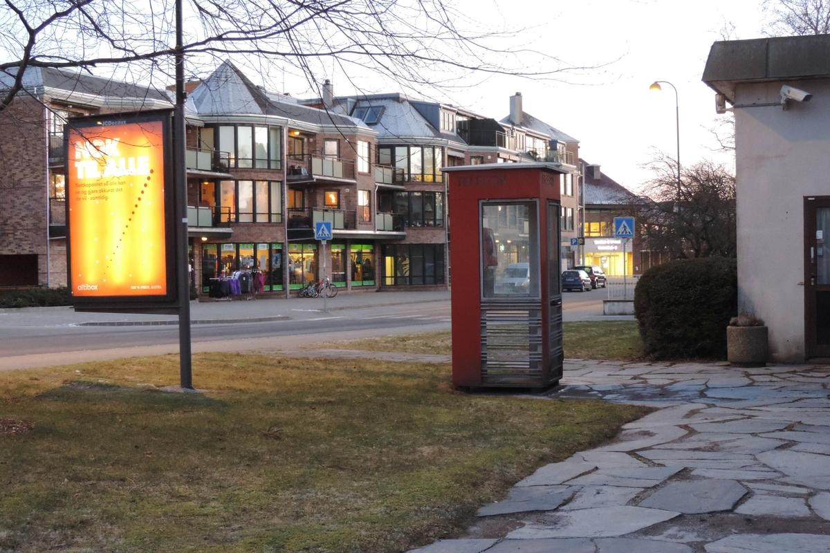 Denne telefonkioksen står ved Sola rådhus, og er blant de 100 vernede telefonkioskene i Norge. De røde telefonkioskene ble laget av hovedverkstedet til Telenor (Telegrafverket, Televerket).  Målene er så å si uforandret.  Vi har dessverre ikke hatt kapasitet til å gjøre grundige mål av hver enkelt kiosk som er vernet.  Blant annet er vekten og høyden på døra endret fra tegningene til hovedverkstedet fra 1933. Målene fra 1933 var: Høyde 2500 mm + sokkel på ca 70 mm Grunnflate 1000x1000 mm. Vekt 850 kg. Mange av oss har minner knyttet til den lille røde bygningen. Historien om telefonkiosken er på mange måter historien om oss.  Derfor ble 100 av de røde telefonkioskene rundt om i landet vernet i 1997. Dette er en av dem.