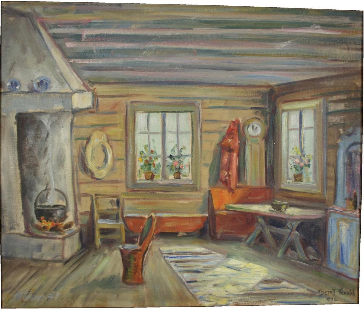 Bondeinteriør. Et rom med grue og stol, to vinduer, enkle bondemøbler.