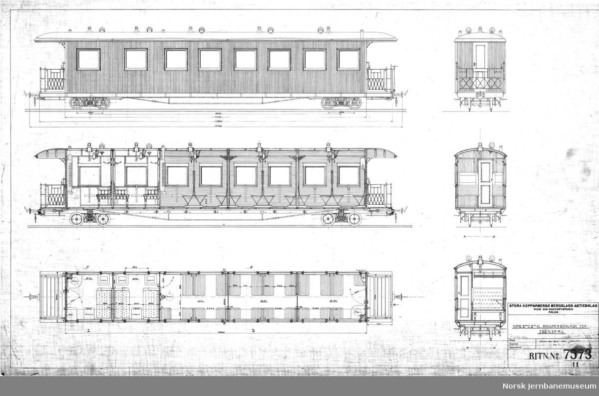 Personvogn for Urskog-Hølandsbanen tegn. 7573: Komb. 2den og 3die Kl. Boggiepersonvagn för 750 m/m sp.r.v. tegn. 6278: bogie tegn. 6299: plan tegn. 6459: merking