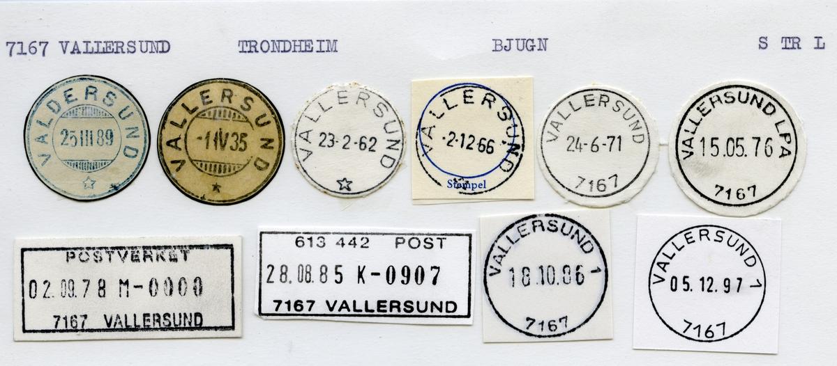 Stempelkatalog 7167 Vallersund (Valdersund), Trondheim, Bjugn, Sør-Trøndelag