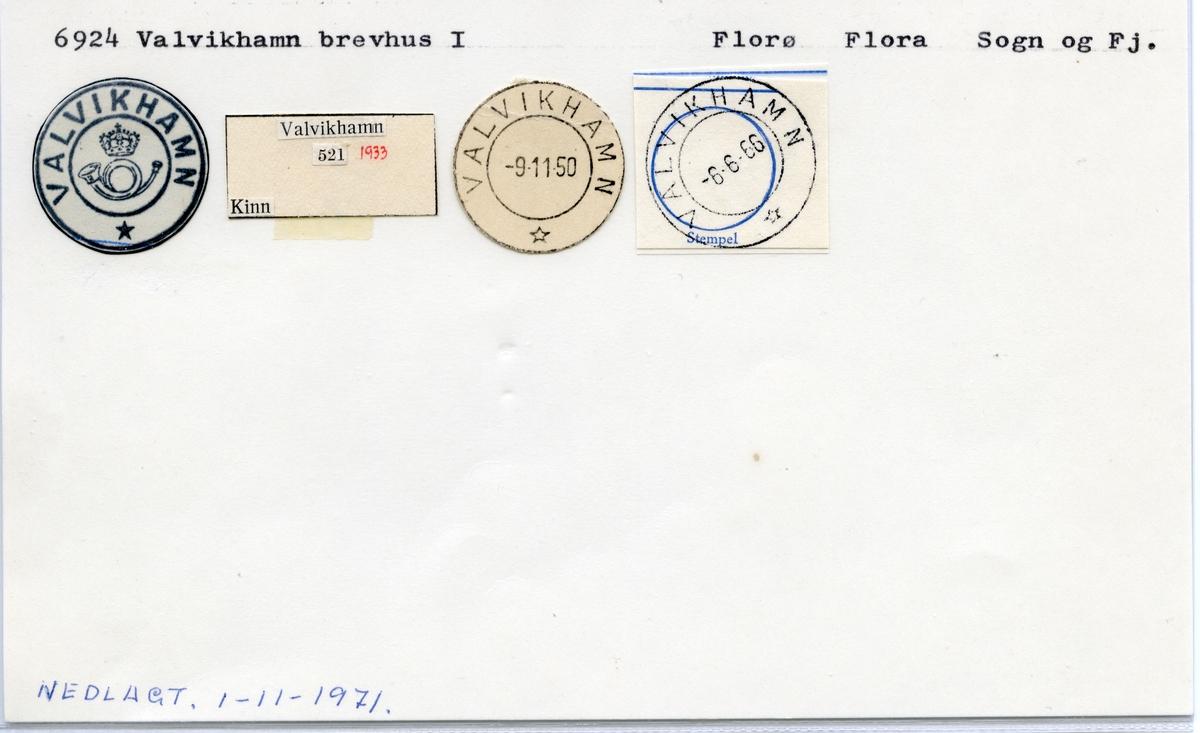 Stempelkatalog 6924 Valvikhamn, Florø, Flora, Sogn og Fjordane