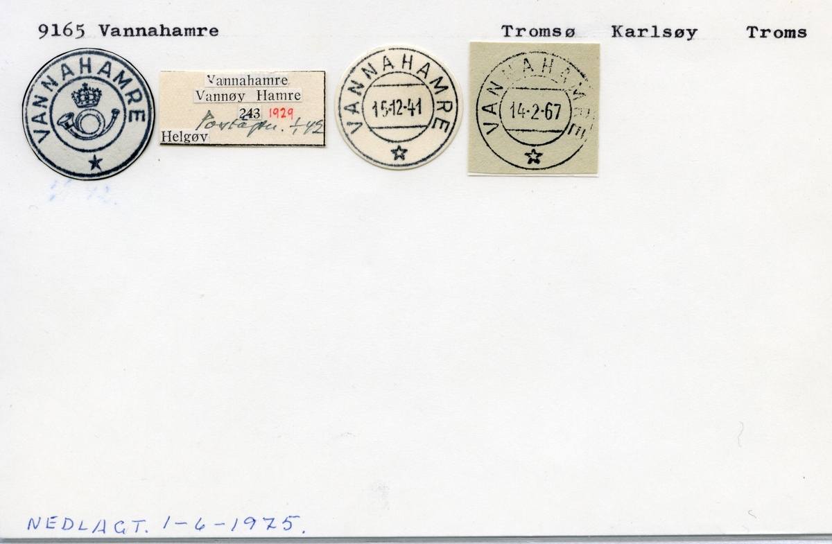 Stempelkatalog 9165 Vannahamre, Tromsø, Karlsøy, Troms