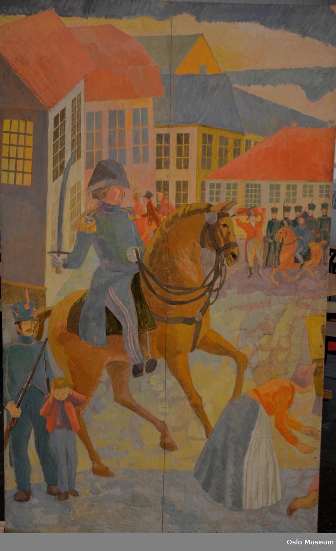 Torgslaget, med Kong Christian Fredrik lengst til venstre,  Wedel-Jarlsberg, og folkemengde i midten, litt til høyre Henrik Wergeland, og lengst til høyre Constitutionen som seiler inn Bjørvika.