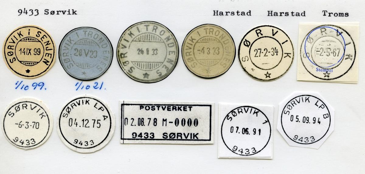 Stempelkatalog  9433 Sørvik, Harstad kommune, Troms (Sørvik i Senjen1.10.99, Sørvik i Trondenes 1.10.21)