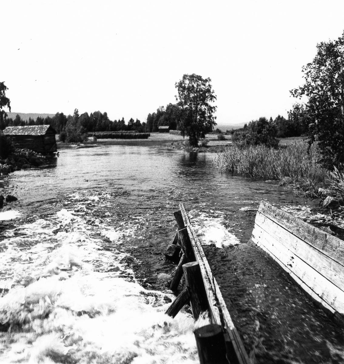 Timmerrännan vid dammen där tröskladorna från Petters och Västergården låg. Istesjöns utflöde i Orsjön vid Iste, Arbrå, Bollnäs.