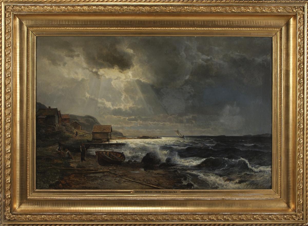 """Enligt katalog: """"Bergh, E. Västkustbild. T.h. upprört hav, t.v. uppdragna robåtar, sjöbod och hus. Sign: E.Bergh 1870. Olja på duk. Förgylld ram."""""""