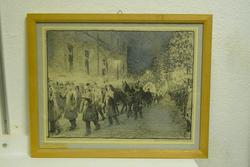 Maleren Christian Krohgs begravelse oktober 1925 [Tegning]