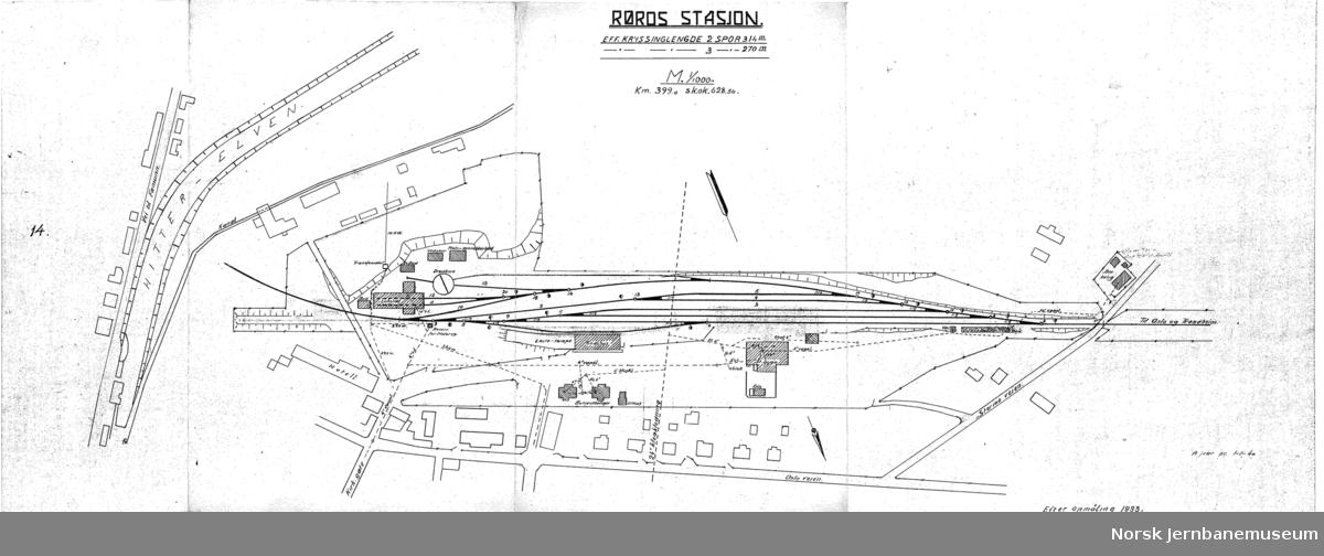 Røros stasjon - sporplan 1933