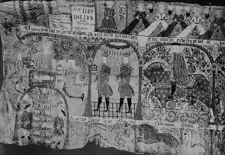 Foto av en bonad, målad.Det syns bl.a. herrar med hattar, kvinnor med olika bilder och texter. Olika bibliska berättelser.