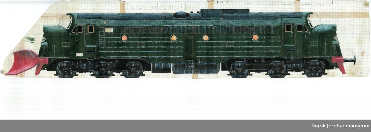 Tegning av diesellokomotiv Di 3 620