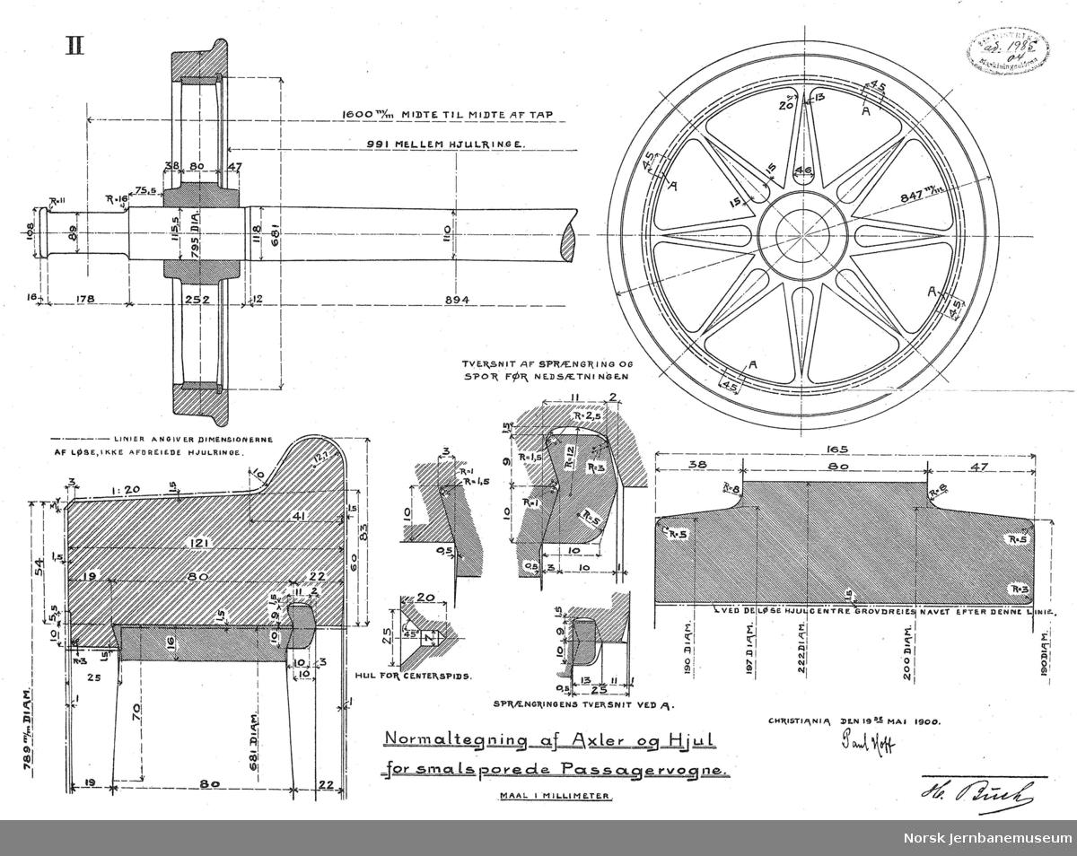 Normaltegning af Axler og Hjul for smalsporede Passagervogne