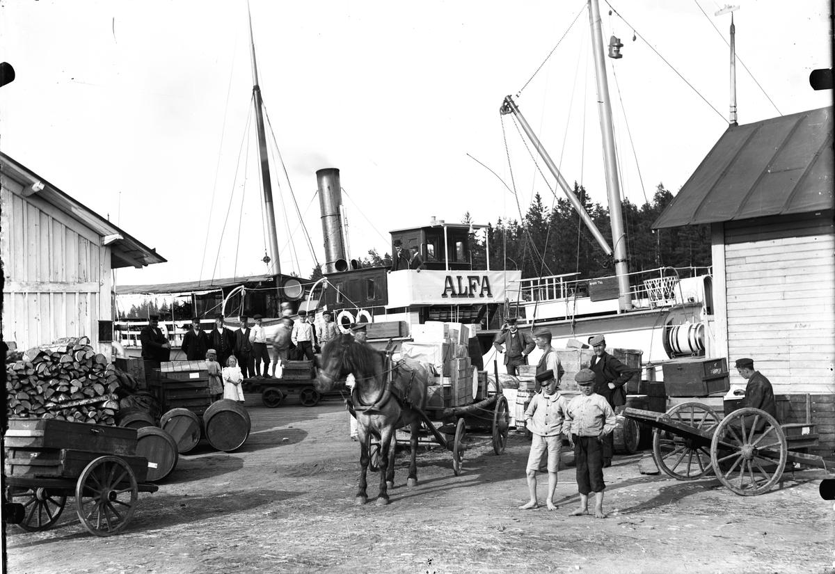 """Ångbåten """"Alfa"""" vid bryggan i Norrsundet."""