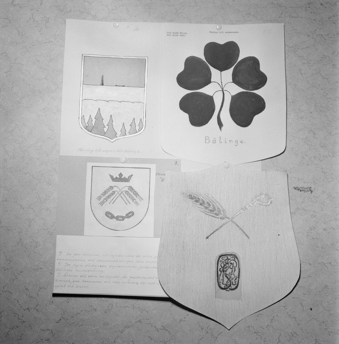 Bälinge storkommun, kommunvapen, Uppland, april 1952