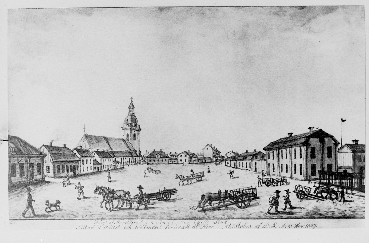 """Fotograferad teckning """"Utsigt af Stapeltorget och Stora Kyrkan i Gefle Stad."""" Ritad å stället och wälment förärad åt Herr Åhlström at D:L d 21 nov. 1829"""