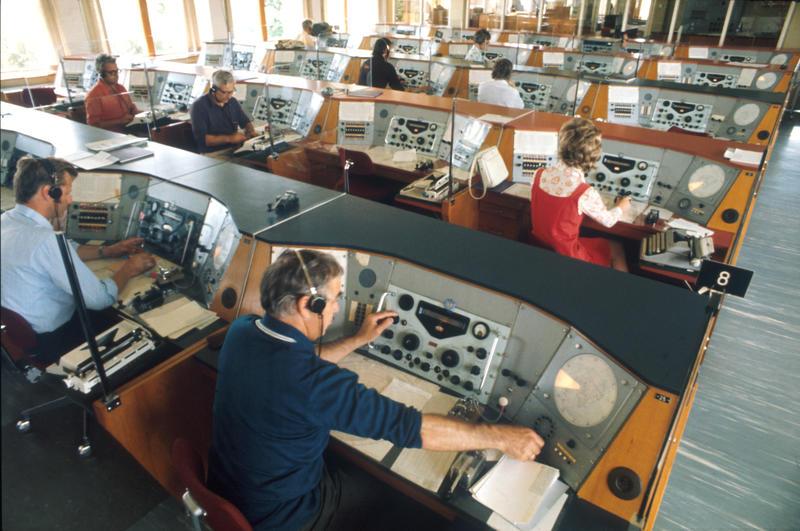Radio- og kringkastingsstasjoner. Radiotelegrafisal ved mottakerstasjonen for Rogaland radio, Skjæveland