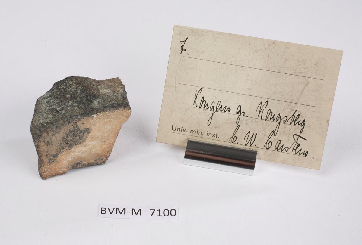 Etikett i eske: 7.  Kongens gr. Kongsberg C.W. Carstens