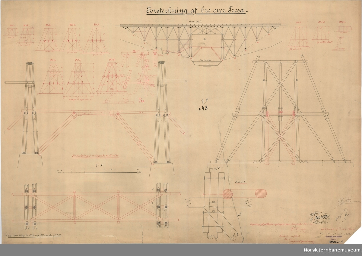 Forsterkning af bro over Tresa Tegnet 1892, påført forsterkning utført 1902