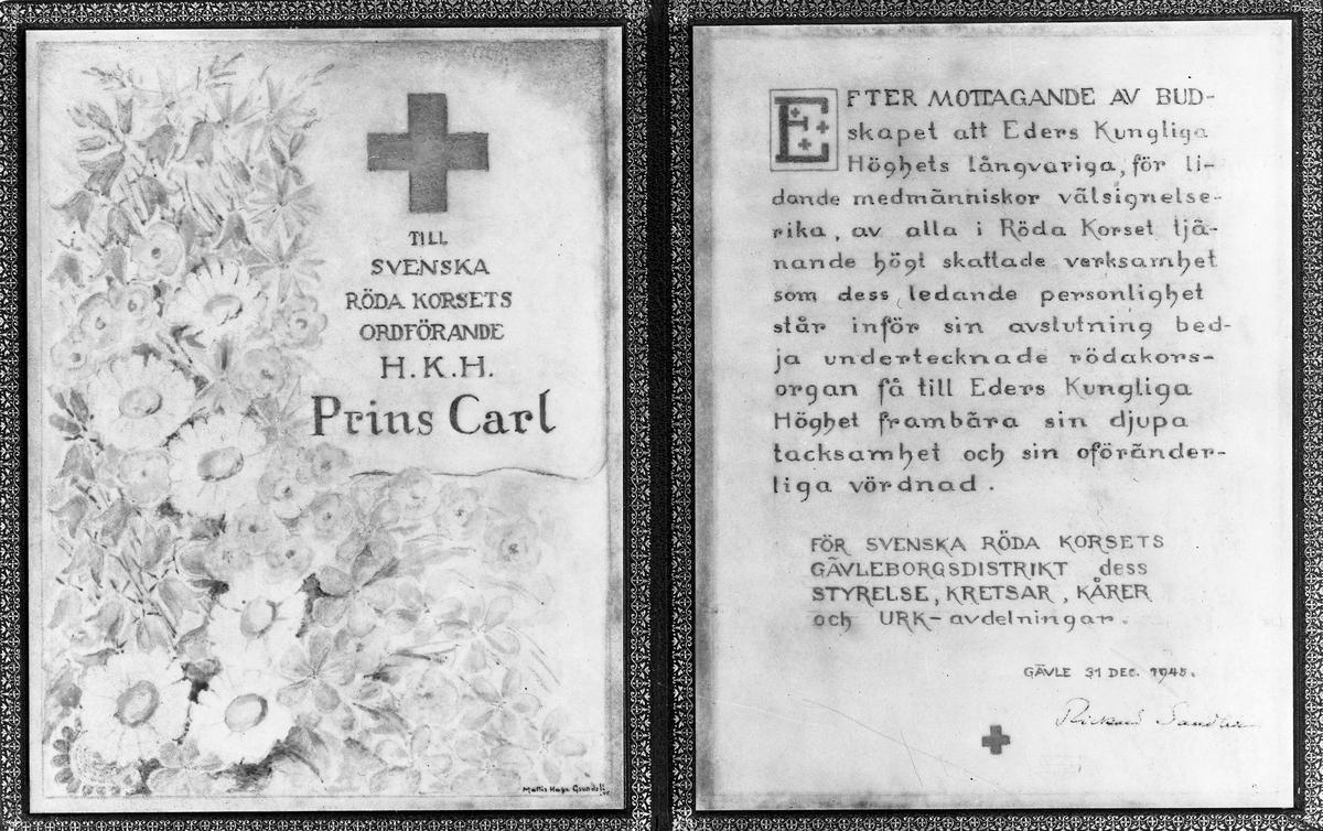 Reproduktion av tackkort till H.K.H. Prins Carl. 28 januari 1946. Från Röda Korset Gävleborgsdistriktet.