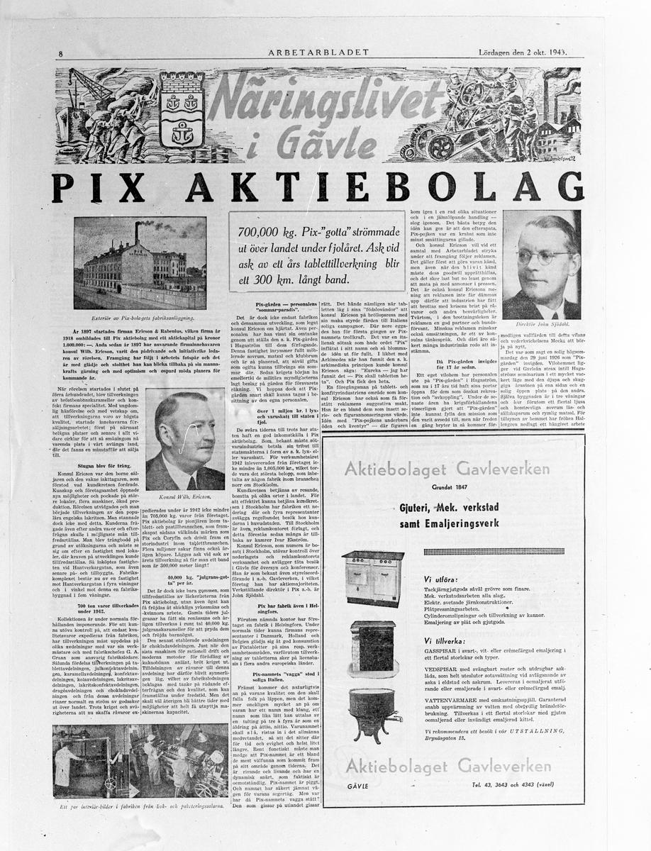 """En sida av Arbetarbladet Lördagen den 2 oktober 1943. Näringslivet i Gävle. """"Pix Aktiebolag""""."""