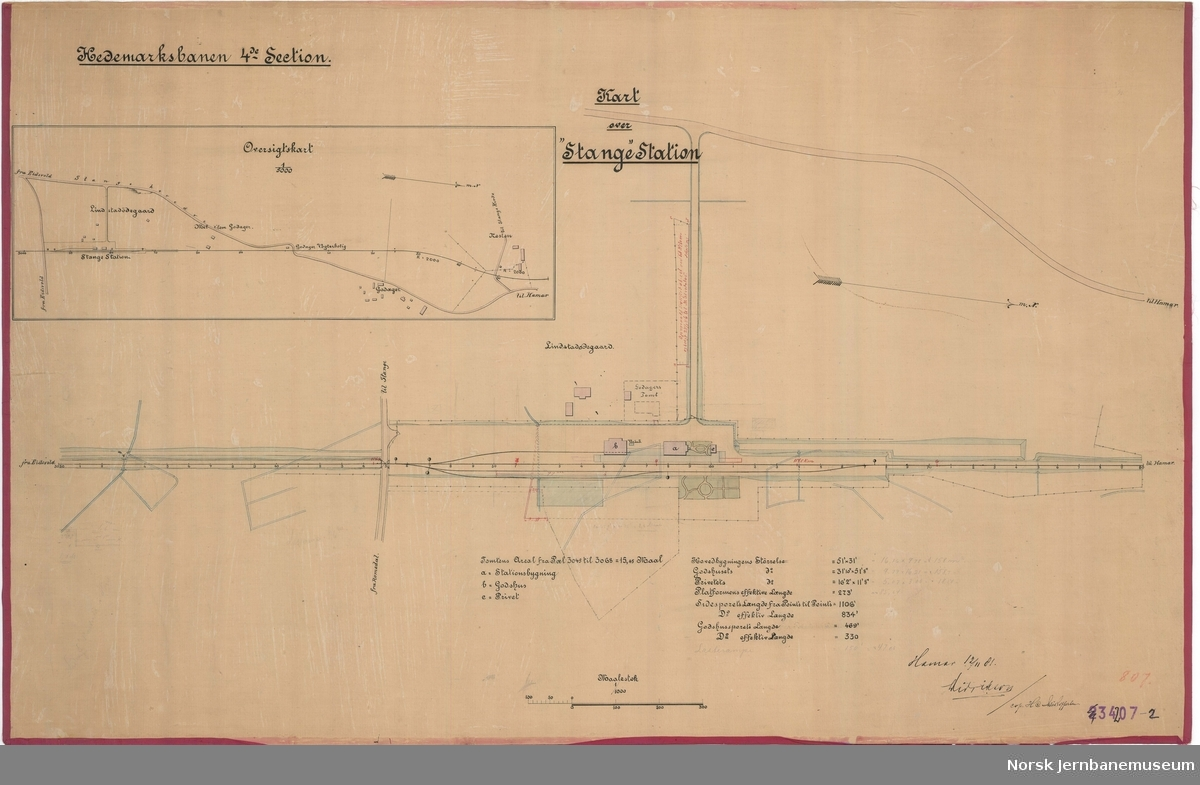 "Hedmarksbanens 4die section. Kart over ""Stange"" station"
