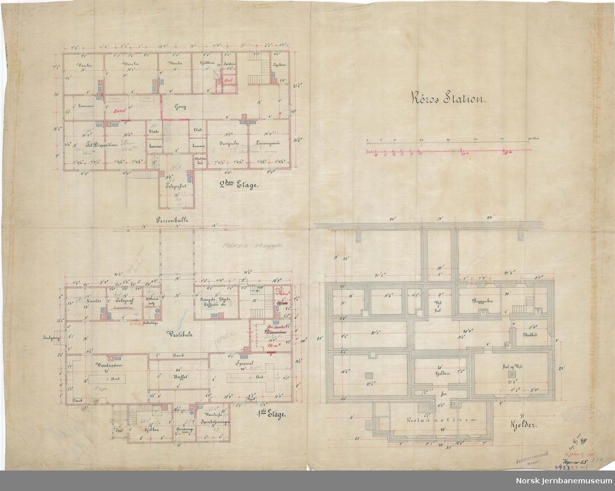 Røros Station. Grundplaner. Tegn. nr. 65. Ajourført 10.05.1905