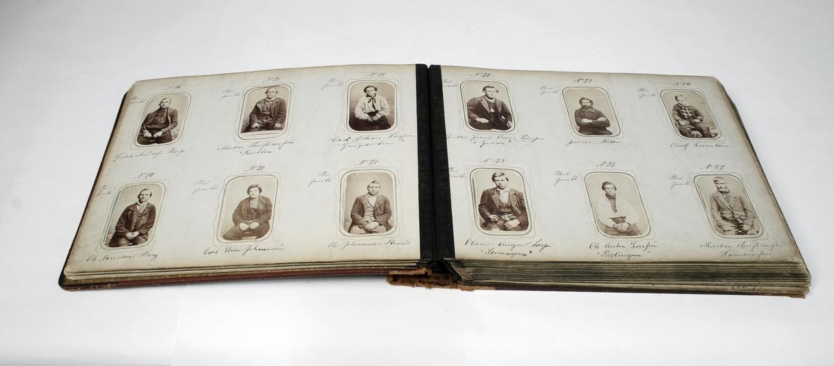 Innbundet album med 6 sider alfabetisk innholdsfortegnelse over navn. 17 sider med 193 forbryterbilder. Noen løse bilder. Totalt 196 foto nummerert fra 1-195.